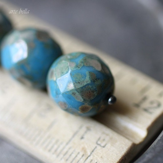 sale .. CERULEAN TAUPE .. 6 Picasso Czech Glass Faceted Beads 12mm (2330-6)