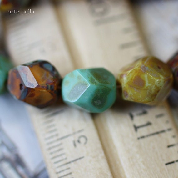 EARTHY NUGGETS .. Picasso Czech Faceted Glass Beads (2374-6)