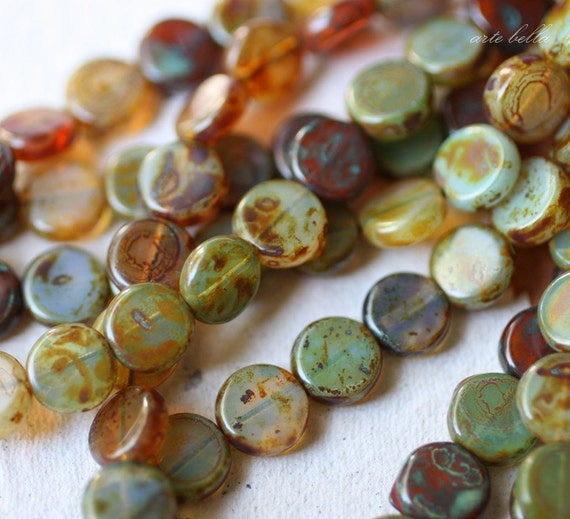 PETITE WEATHERED COINS .. 25 Picasso Czech Glass Beads (2376-s)