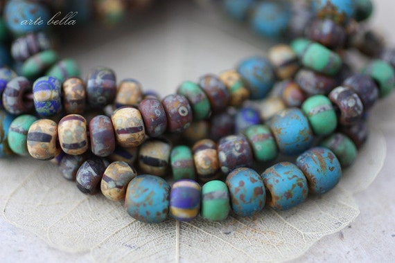OLD WORLD MIX No. 2 .. Picasso Czech Matte Glass Seed Beads (2403)