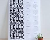 Hello 2012 Wall Calendar, Black White, 8.5X11
