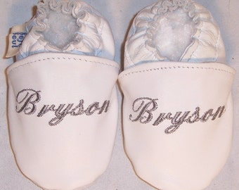 Personalized soft sole leather baby baptism shoes