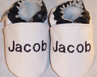 LEATHER baby shoes with your baby's name  for baptism or keepsake