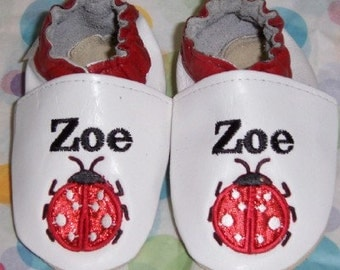 softsoul leather baby shoes your childs name and a lady bug