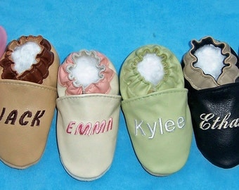 handmade leather baby shoes -personalized baby shoes - genuine leather custom made shoes - monogram baby shoes