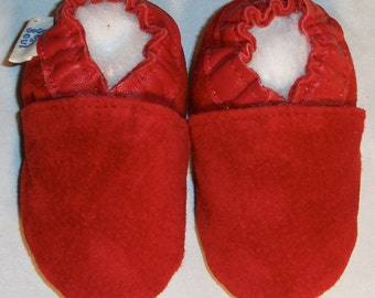 softsoul shoes ,baby shoes, soft sole shoes, all leather shoes, red suede shoe, handmade shoes,