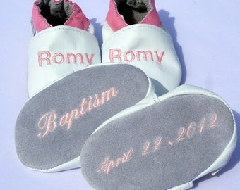 white leather Wedding Shoes, Baptism Shoes, personalized baby girl shoes