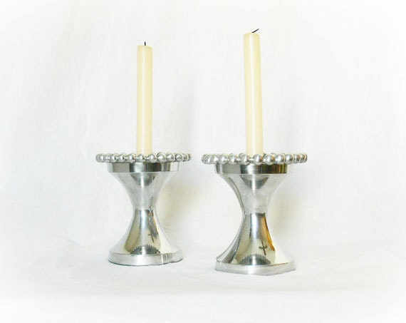 Vintage 60s Silver Plate Metal Candle Holders Round Set 2