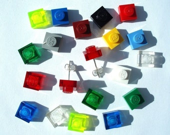 Pick your fav colour silver plated earrings - Handmade with LEGO(r) plates