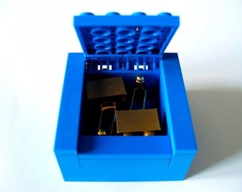BLUE Cufflinks Gift / Display Box. Handmade with LEGO(r) bricks - cufflinks sold separately