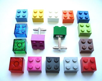 Pick your fav colour silver plated Cufflinks - Handmade with LEGO(r) bricks