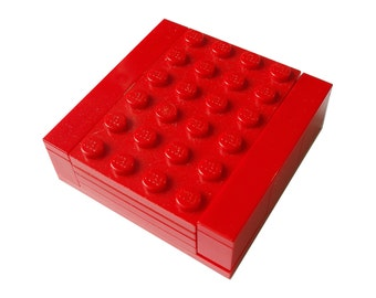 RED Necklace Gift / Display Box. Handmade with LEGO(r) bricks - necklace sold separately
