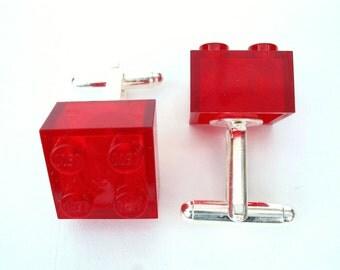 Transparent Red Brick Cufflinks - Handmade with LEGO(r) bricks