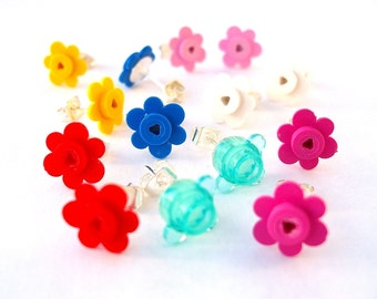 Pick your fav colour Flower earrings - Handmade with LEGO(r) flowers