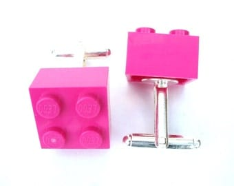 PINK Brick Cufflinks - Handmade with LEGO(r) Bricks