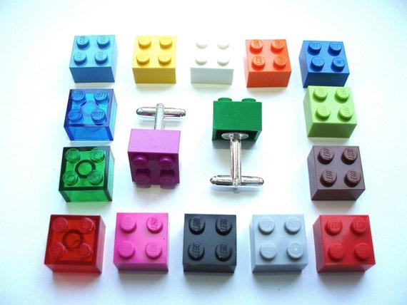 Pick your fav colour silver plated Cufflinks - Handmade with LEGO(r) bricks