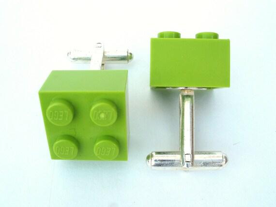 Lime Brick Cufflinks - Handmade with LEGO(r) Bricks
