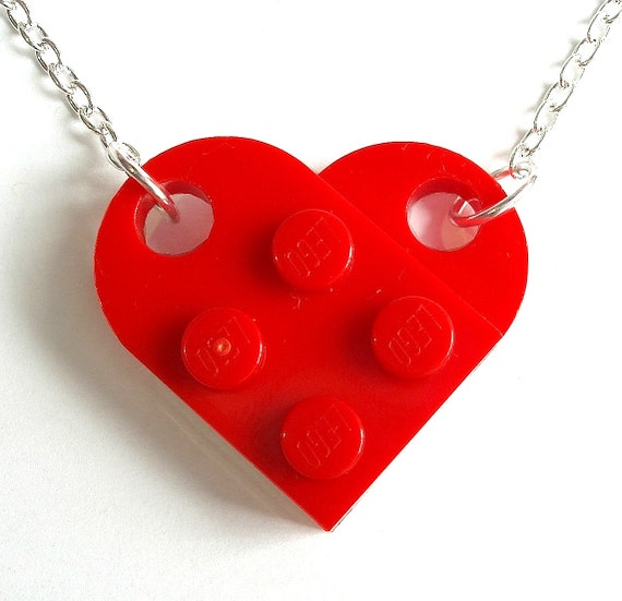 Heart Necklace - Silver or Gold Plated Chain - Handmade with with LEGO(r) parts