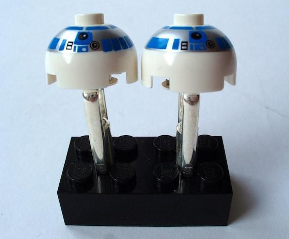 Star Wars Lego R2 D2 Cufflinks - silver plated