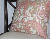 20x20 Pink and Green Paisley Pillow Cover
