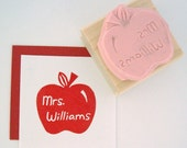 Teacher Apple Personalized Hand Carved Rubber Stamp