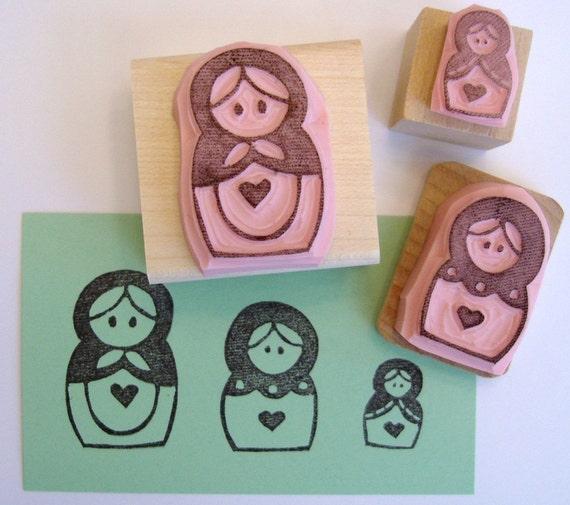 Matryoshka russian nesting dolls set of hand carved rubber