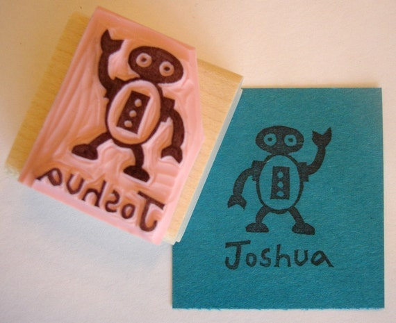 Robot Personalized Hand Carved Rubber Stamp