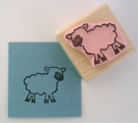 Baby Lamb Hand Carved Rubber Stamp