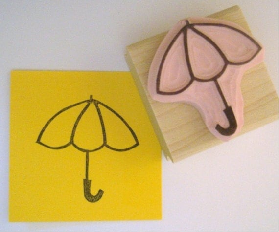 Baby shower bridal shower umbrella hand carved rubber stamp for Wedding dress rubber stamp