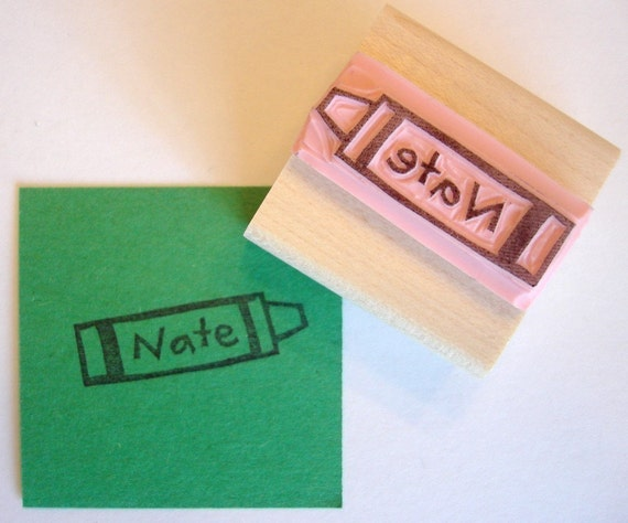 Crayon Personalized Hand Carved Rubber Stamp