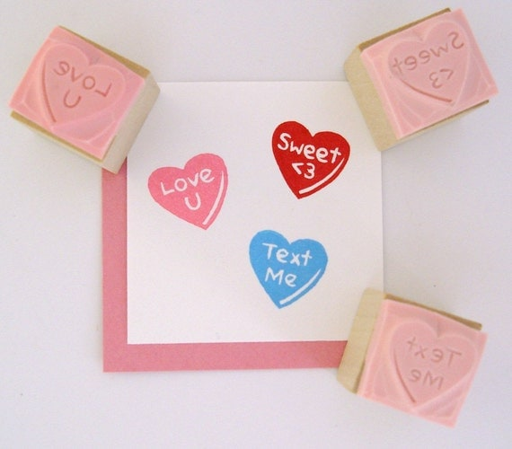 Make Your Own Conversation Hearts Personalized Valentine Hand Carved Rubber Stamps set of 3