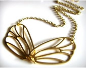 Fluttering Hinged Moth Wings Necklace in Matte Gold also available in Matte Silver