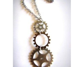 Steampunk Sprocket Gears Necklace in Silver and Copper Oxidized Finish