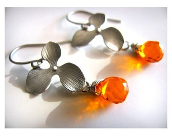 Sweet Orchid Drop Earrings in Silver with Faceted Clementine Briolette also Available in Gold