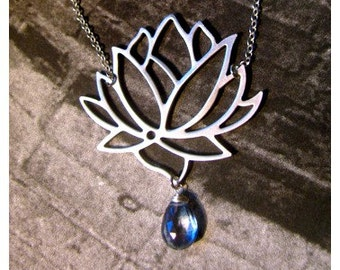 Gorgeous Tibetan Lotus Blossom Necklace in Silver with Faceted Mystic Blue Quartz Pear Briolette
