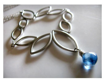 Abstract Silver Marquis Tumble Necklace with Rare Blue Kyanite Heart Shaped Gemstone Briolette