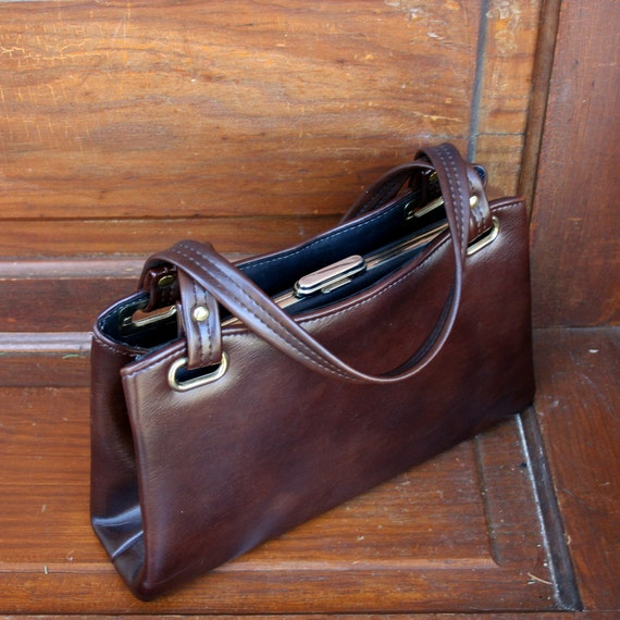 Vintage Dark Brown Kelly Style Purse