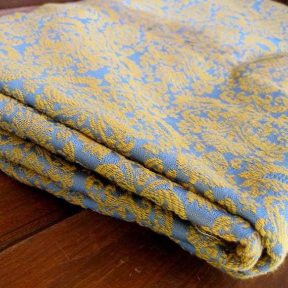 Vintage Gold and Blue Damask Fabric  SALE