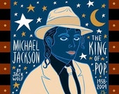 Michael Jackson - The King of Pop Blue - Print Portrait by Jack Wolf Folk Art