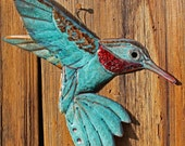 Flutter - copper Hummingbird sculpture by Mark - with blue and red-orange patinas - OOAK