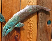 Diving Gray Whale III - copper marine mammal sculpture by Mark - with glue-green and naturally-aged bronze patinas - OOAK