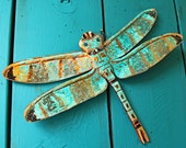Copper Dragonfly Sculpture by Mark - with red-orange and turquoise blue-green raku-type patinas - OOAK