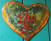 Bliss - copper heart plaque by Wendy and Mark - with calligraphy and verdigris green patina -OOAK