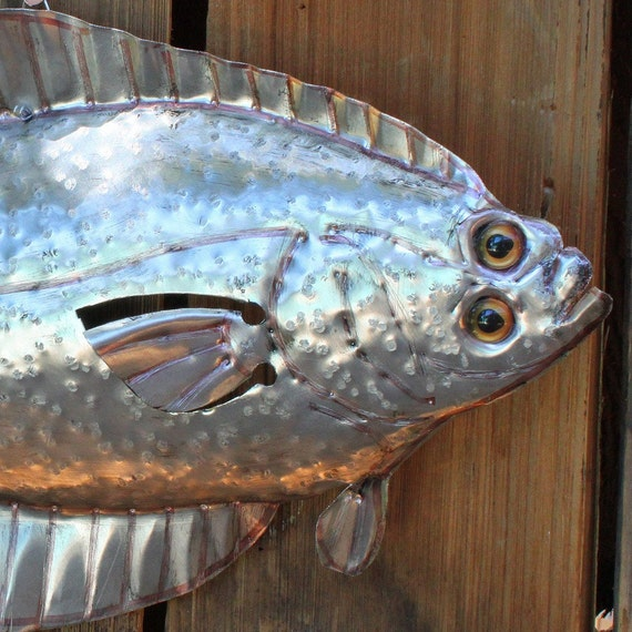 Imelda Aluminum Flounder Fish With Glass Eyes Repurposed