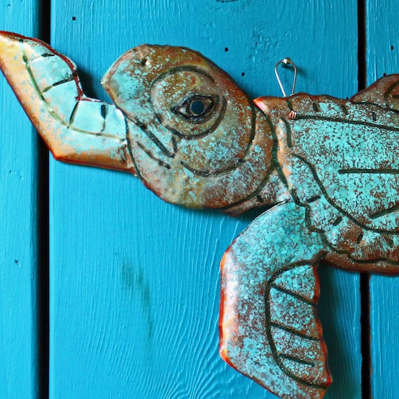 Copper Young Sea Turtle by Mark - with red-orange and turquoise blue-green raku-type patina - OOAK