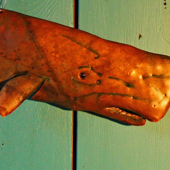 Sperm Whale - copper marine mammal sculpture by Mark - with naturally-aged bronze patina - OOAK