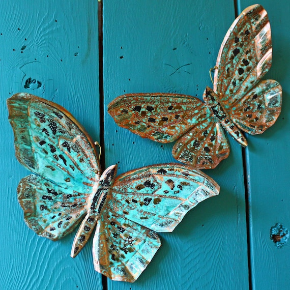 Copper Butterfly Sculptures by Mark - with black and turquoise blue-green raku-type patinas - OOAK
