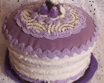 Fake Cake Gift Box birthday gift/centerpiece in cream and lilac with vintage chenille & lace