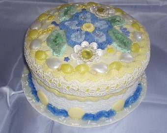 Fake Cake Centerpiece/Gift Box for Birthday Gift in white, yellow and blue Treasury List Item