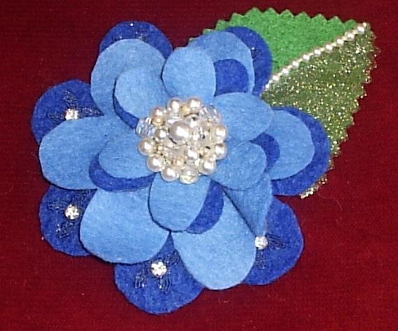 Rhapsody in Blues Felt Flower Brooch/Pin with Leaf